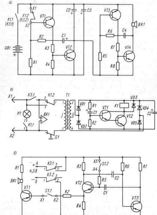 Принципиальные схемы включения исполнительных звуковых и световых устройств.  На рис. 2. 4 исполнительное устройство...