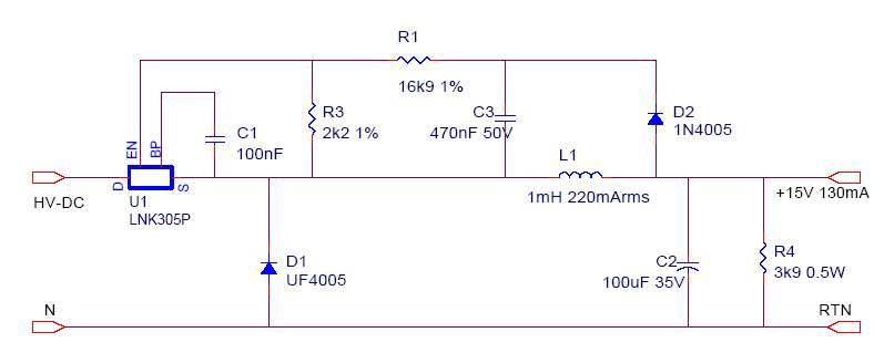 Рис.1 Схема источника питания (после высоковольтного выпрямителя).  3.3. 220.  130. Тестируемый источник питания...